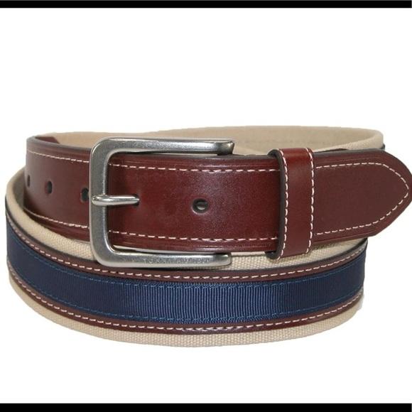 TOMMY HILFIGER Men's Canvas Belt W/ Leather Inlay